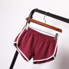 ... Eachgo Women Elastic Yoga Short Pant White Edge Quick Drying Running Sport Fitness Shorts Wine