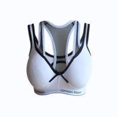 EELIC 740 Sport Bra Warna Putih Garis Putih Baju Sport Olahraga Berbahan Lembut Serta Nyaman Dipakai