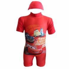 EElIC 999-3 Baju Renang Anak Warna Orange Model Diving Dan Bergambar Cartoon The Cars Sangat Cocok Untuk Anak Anak Usia 2-3 Tahun