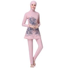 EGC New Muslim Swimwear Women Hijab Beach Swimsuit(dark pink1#) - intl