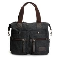 Ekphero Women Men Canvas Multi Pocket Handbags Casual Pillow Shoulder Crossbody Bags Black NEW - Intl