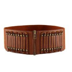 Elastic Faux Leather Belt Waistband Rivet Buckle Waist Wide Stretch Cinch Brown (Intl)