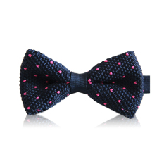 ELENXS Mens Dot Knitted Bow Tie (Dark Blue)