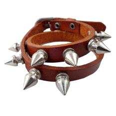 Elfs Shop - Gelang6 Leather 2 Metal - Coklat