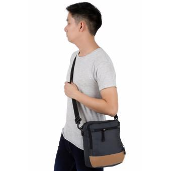 Elfs Shop - Tas Selempang Pria Men's Sling Crossbody Shoulder Bag Canvas Leather Kulit-Abu Tua