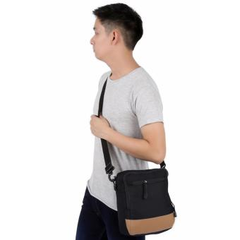 Elfs Shop - Tas Selempang Pria Men's Sling Crossbody Shoulder Bag Canvas Leather Kulit-Hitam