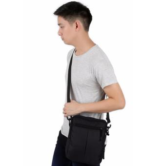 Elfs Shop - Tas Selempang Pria Men's Sling Crossbody Shoulder Bag Canvas Simple-Hitam