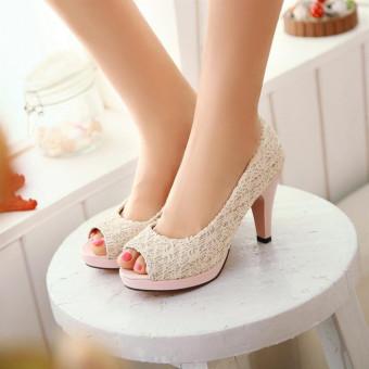 Ellen Grosir - High Heels Brukat Cantik [Cream]