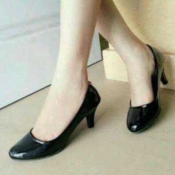 Ellen Grosir - High Heels Pantofel Glossy [Hitam]