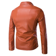 EOZY Fashion Men Stand Collar Motorcycle Leather Jackets Korean Style Male Slim Zipper Leather Clothing Outerwear Coat Tops (Brown) - Intl