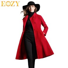 EOZY Fashion Women Luxury Windbreaker Coat European Style Ladies Girls Winter Warm Long Sleeve Long Wool Coat Outwear Overcoat (Red) (Intl)