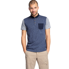 Esprit Colour Block Jersey Polo, Cotton Blend - Navy