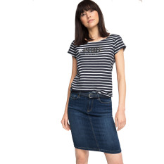 Esprit Cotton T-Shirt With A Glittering Print - Grey Blue