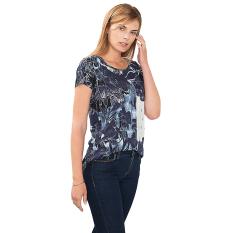 Esprit Flowing Floral Print T-Shirt - Navy
