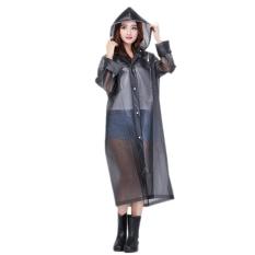 EVA Resin Non-toxic Lightweight Transparent Rain Jacket Poncho Raincoat M (Black)