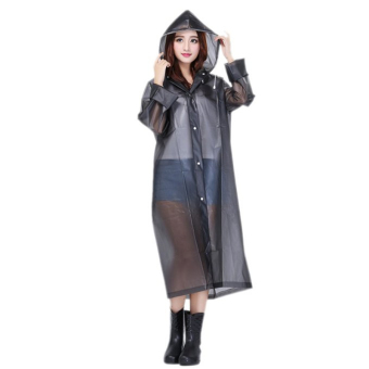 EVA Resin Non-toxic Lightweight Transparent Rain Jacket Poncho Raincoat M (Black)
