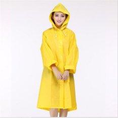 EVA Resin Non-toxic Lightweight Transparent Rain Jacket Poncho Raincoat M (Yellow)