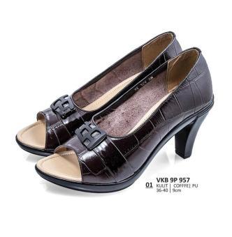 Everflow | Sepatu Heels / Formal / Pantofel Wanita - VKB 9P 957 | Warna : Coffe | Bahan : Kulit