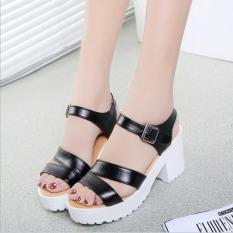 Factory direct sale Women Summer shoes white Black fashion platform soft PU sandals women's high-heeled shoes thick heel sandals(Black) - Intl