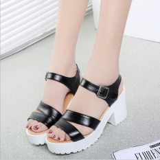 Factory direct sale Women Summer shoes white Black fashion platform soft PU sandals women's high-heeled shoes thick heel sandals(Black) - Intl