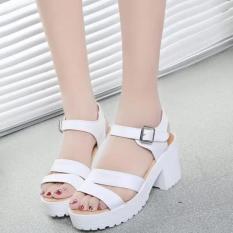 Factory direct sale Women Summer shoes white Black fashion platform soft PU sandals women's high-heeled shoes thick heel sandals(White)