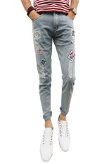 Fanco Men's Black Zipper Pencil Pants Slim Fashion Jeans For Men (Blue) - Intl