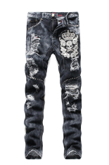Fanco Men's Masculina Biker Skinny Ripped Distressed Skull Hole Denim Jeans Grey