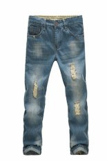 Fanco Men's Summer Ripped Distressed Wash Denim Jeans Trousers (Blue) - Intl