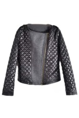Fancyqube 2015 Bestselling Autumn Women's Fashion Cool Long Sleeve Coat Quilted Asymmetric Zip Jacket Black