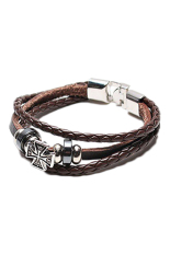 Fancyqube Cross Studded Surfer Leather Bracelet Wristband Cuff Men'S Brown Coffee