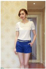 Fancyqube New 2015 Spring Summer Blouses V-Neck Women Chiffon Blouse Plus Size Solid Fashion Backing Shirts Size S-2XL WF-8316 White