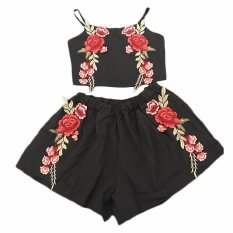 Fancyqube Women's flowers Sleeveless Tops and Shorts 2 piece sets female Beach Style Black - intl