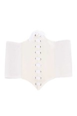 Fang Fang Fashion Ladys Wide Elastic Faux Leather Belt (White)