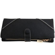 Fang Fang Women Fashion Leather Wallet Button Clutch Purse Lady Long Handbag Bag (Black)