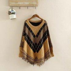Fang Fang Women's Diamond Tassel Poncho Cape Shawls Batwing Sweater Cloak With Sleeves (Khaki)