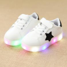 Fashion anak laki-laki kecil lampu Flash LED warna sepatu putih - International