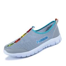 Fashion Breathable Mesh Sport Men Low Cut Sneakers-Grey