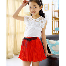 Fashion Children Girls Short Sleeve Lace Chiffon Splice Blouse Tops Elastic Waist Pleated Mini Skirt Two Piece Set-red - intl