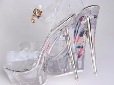 Fashion Crystal High-heeled Shoes Sexy Summer Chaussure Shoes Glass Slippers Jelly Shoes transparent crystal Sandal Peep Toes wedges sandals - intl