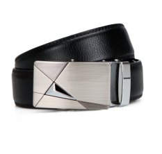 Fashion Design Men's Belt Automatic Buckle Leather Belt Men's Leather Belts For Men Belt Brand (Black) (Intl)