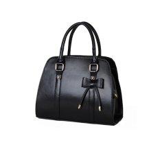 Fashion European Style Women's Bowknot Decor PU Handbag Tote Shoulder Travel Bag (Black)