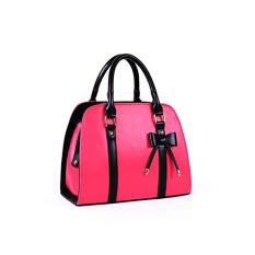 Fashion European Style Women's Bowknot Decor PU Handbag Tote Shoulder Travel Bag (Rose Red)