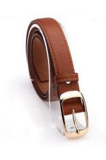 Fashion Faux Leather Metal Waist Cummerbunds Belts For Women Brown (Intl)