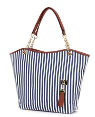 Fashion Female Canvas Bag Stripe Pattern Shoulder Bag Handbag Blue + White