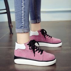 Fashion Girls Sport Flat Shoes Strappy Leisure Female Students Lace-up Board Shoes - Intl
