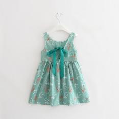 Fashion Girls Sweet Cotton Princess Dresses Cherry Flowers Dresses -Bean green