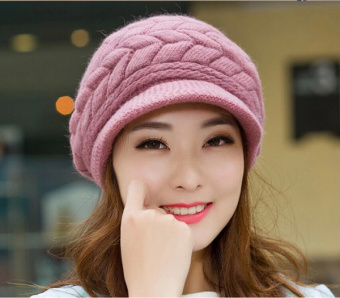 Fashion Korean Women Crochet Knit Hat Winter Warm Ski Beanie Wool Peaked Cap - intl