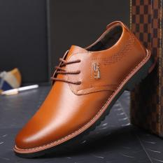 Fashion Lace Up Men's Flats Shoes Breathable Business Imitation Lether Shoes Men - Intl