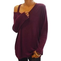 Fashion Ladies Women Plus Size Asymmetric Collar Long Sleeve Loose Casual Long Tops Blouse-wine Red (EXPORT)