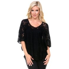 Fashion Ladies Women Sexy V-Neck Batwing Sleeve Lace Floral Hollow Out Casual Loose Tops Blouse-black-M (EXPORT)
